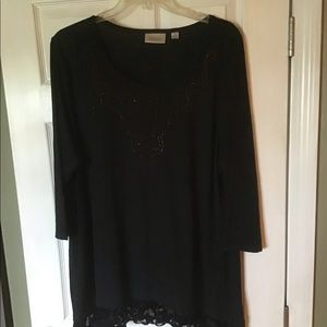 Avenue Tops - NEW Black Tunic with Sparkle, burn out velvet trim